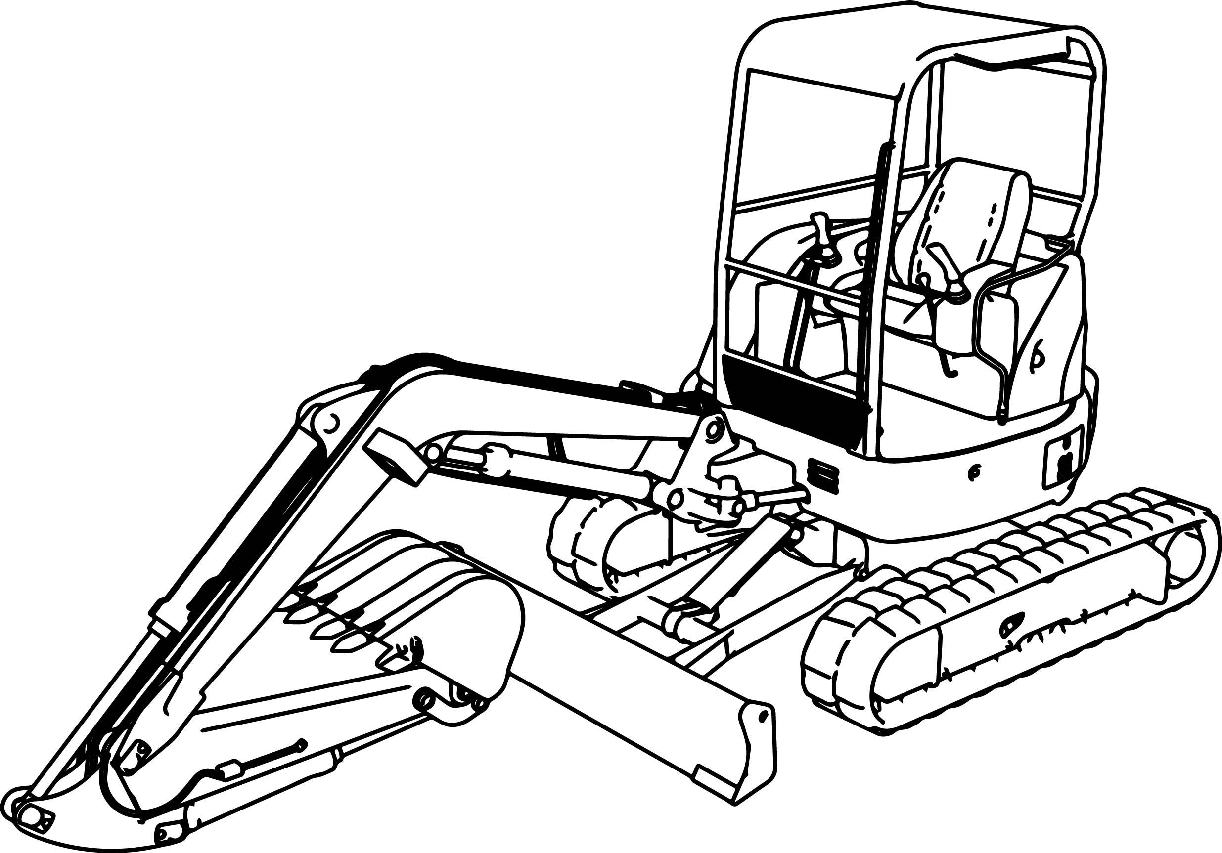 excavator mini excavator hitachi ex50u coloring page - Horse Trailer Coloring Pages