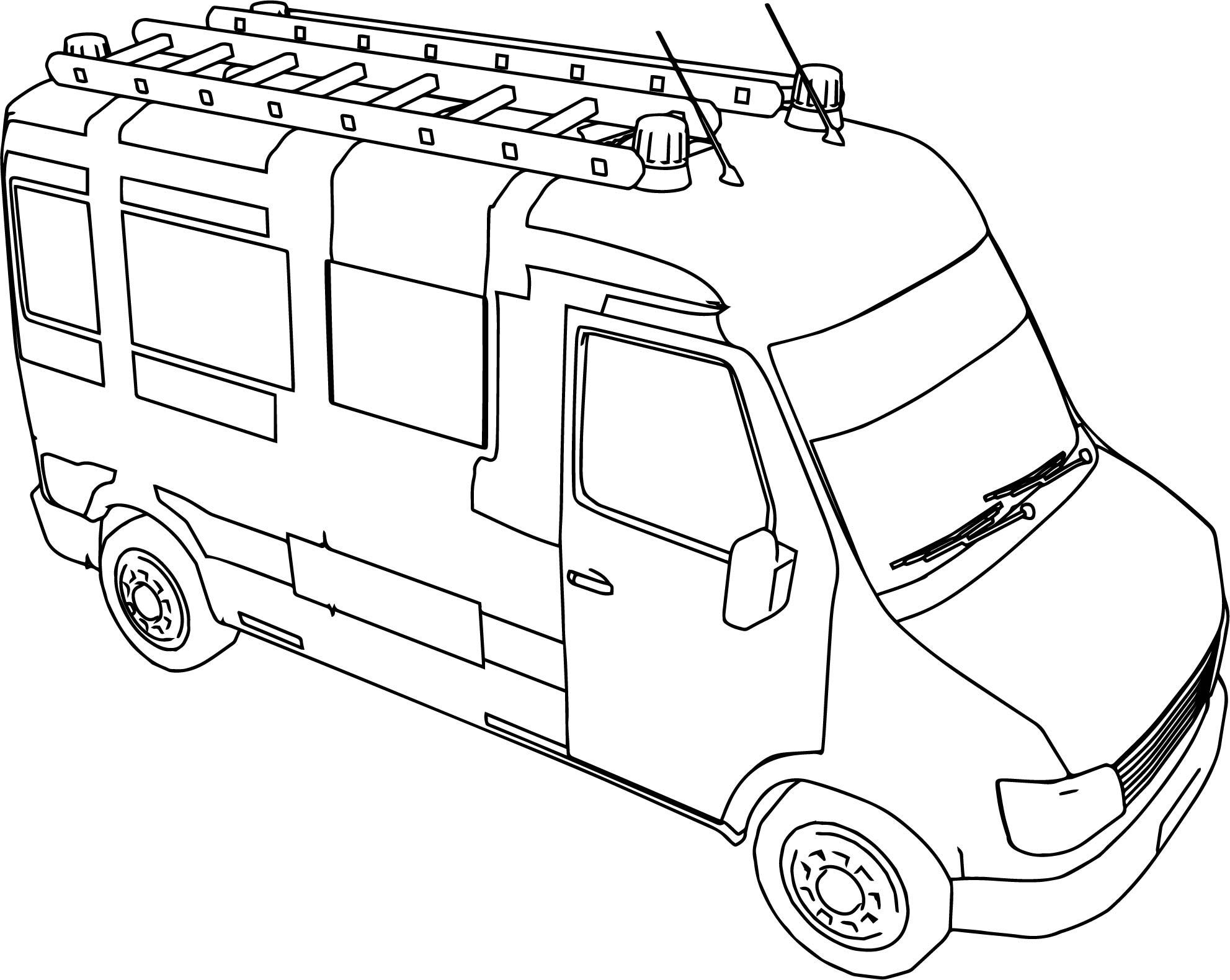 fire truck mini minibus coloring page wecoloringpage