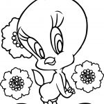 Flower Background Tweety Coloring Page