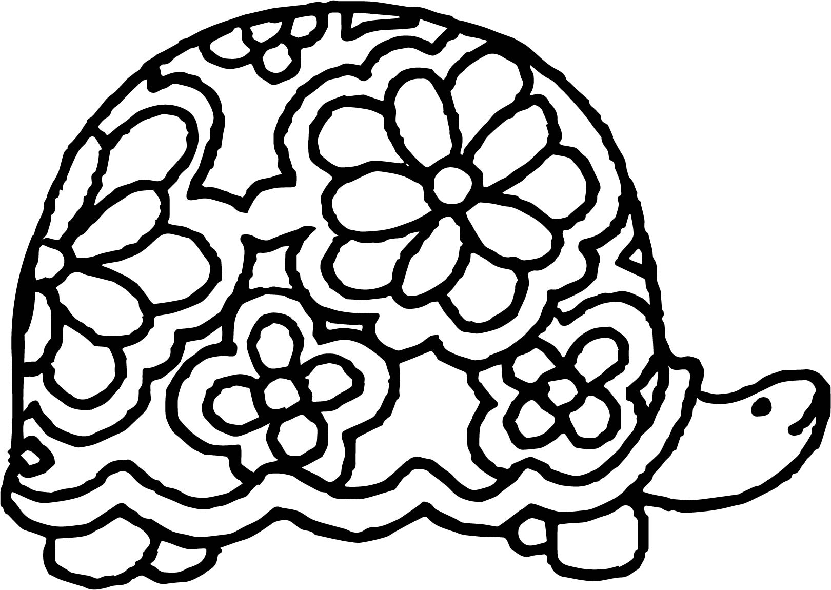 Flower Turtle Coloring Page