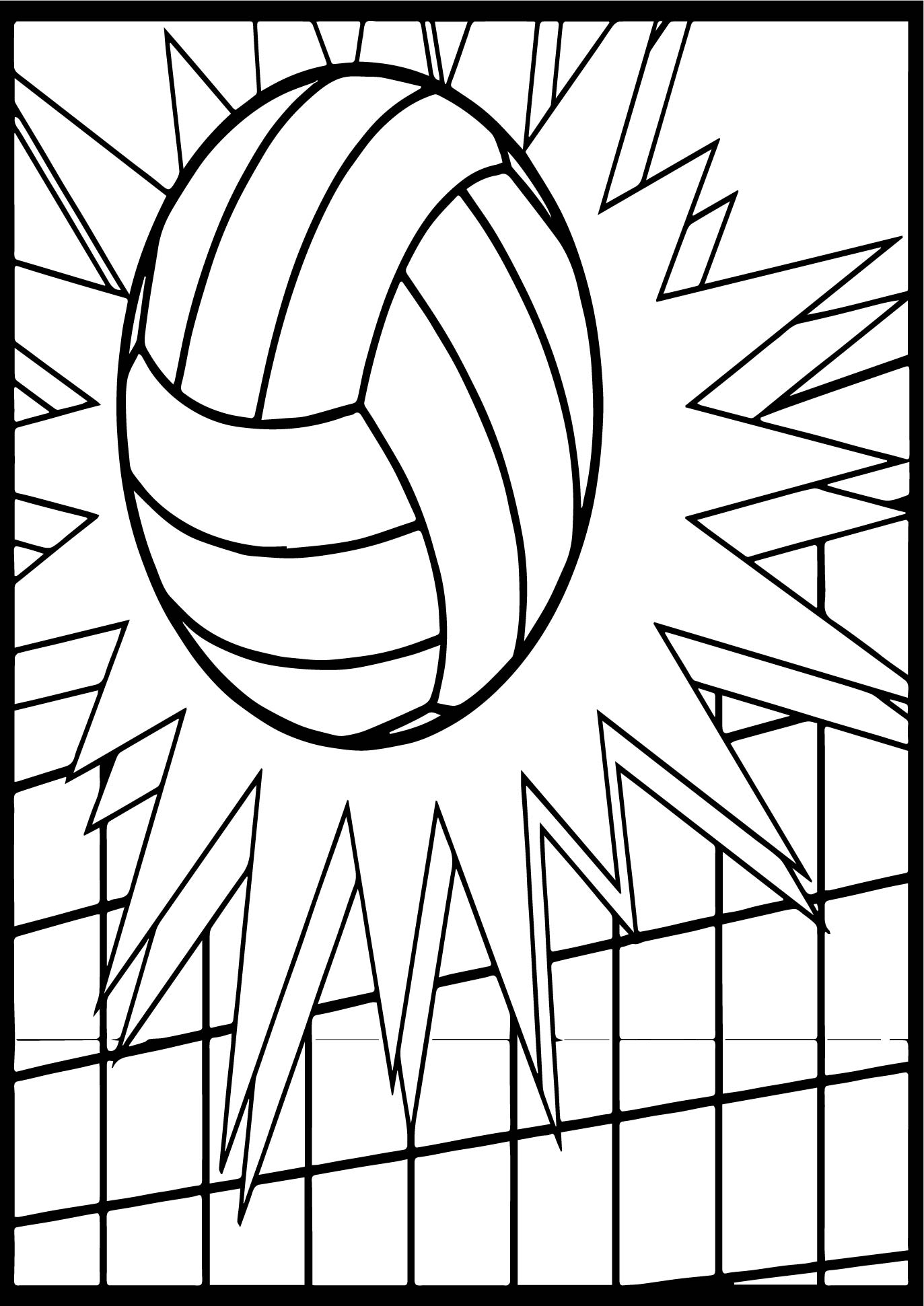 Free Volleyball Ball Coloring Page