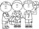 Friends Playing Basketball Coloring Page
