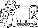 Friends Playing Computer Games Coloring Page