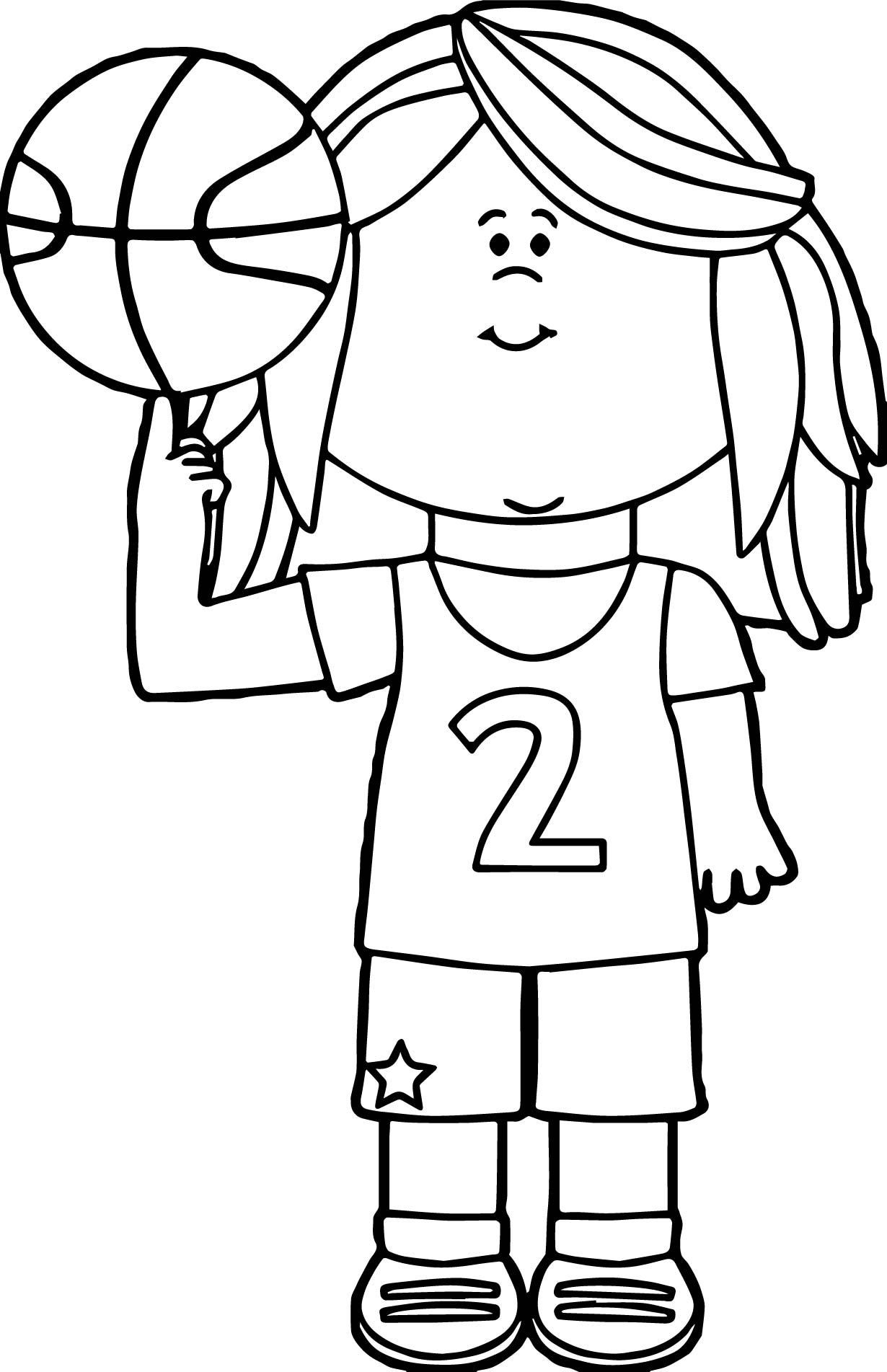 Real Basketball Coloring Pages. Girl Basketball Player Balancing Ball On Finger Playing Coloring  Page