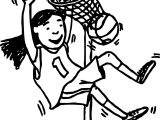 Girl Basketball Player Playing Basketball Throw A Basket Coloring Page