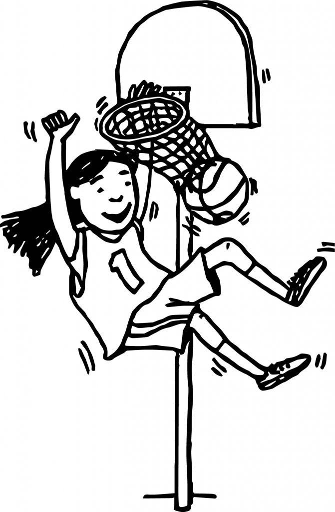 Girl Basketball Player Playing Basketball Throw A Basket ...