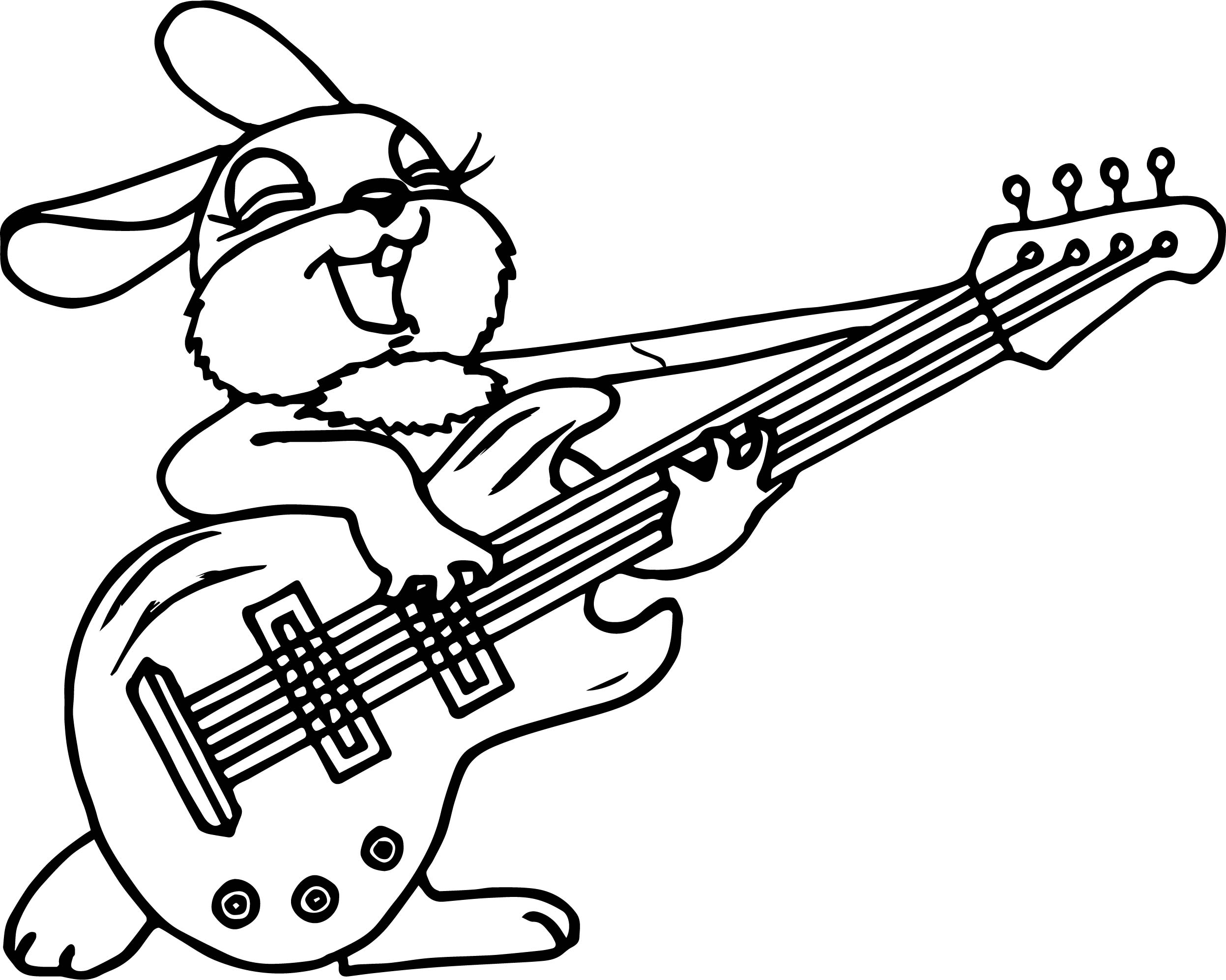 Girl Bunny Anima Playing The Guitar Coloring Page
