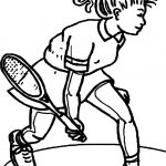 Girl Coloring Page Tennis