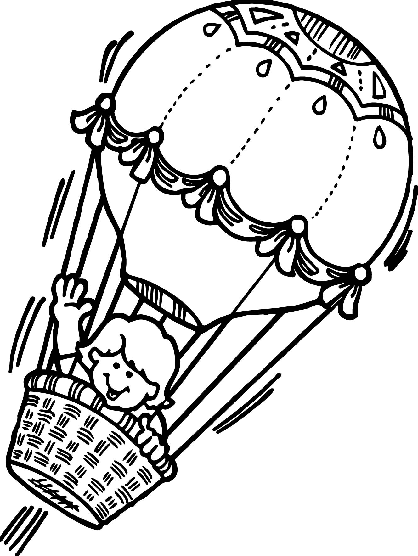 Girl Flying Air Balloon Coloring Page