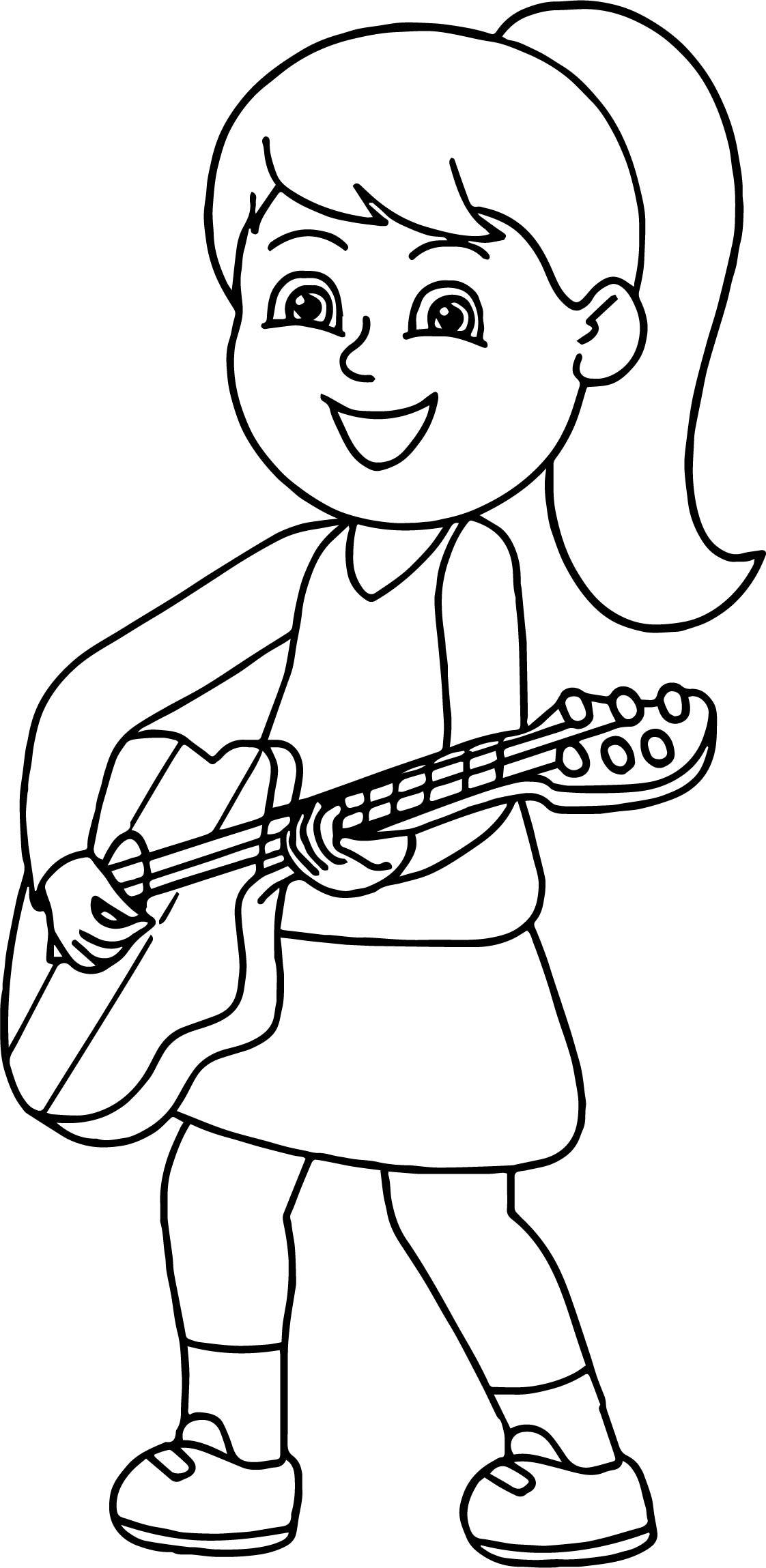 girl playing guitar playing the guitar coloring page - Guitar Coloring Pages