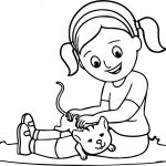 Girl Playing With Cute Kitty Coloring Page