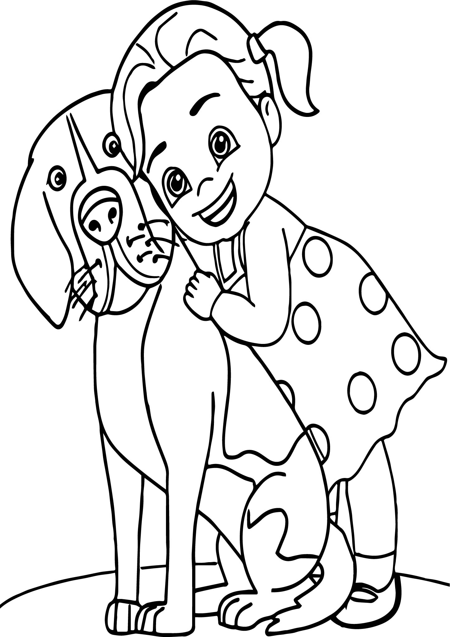 Girl Puppy Dog Coloring Page