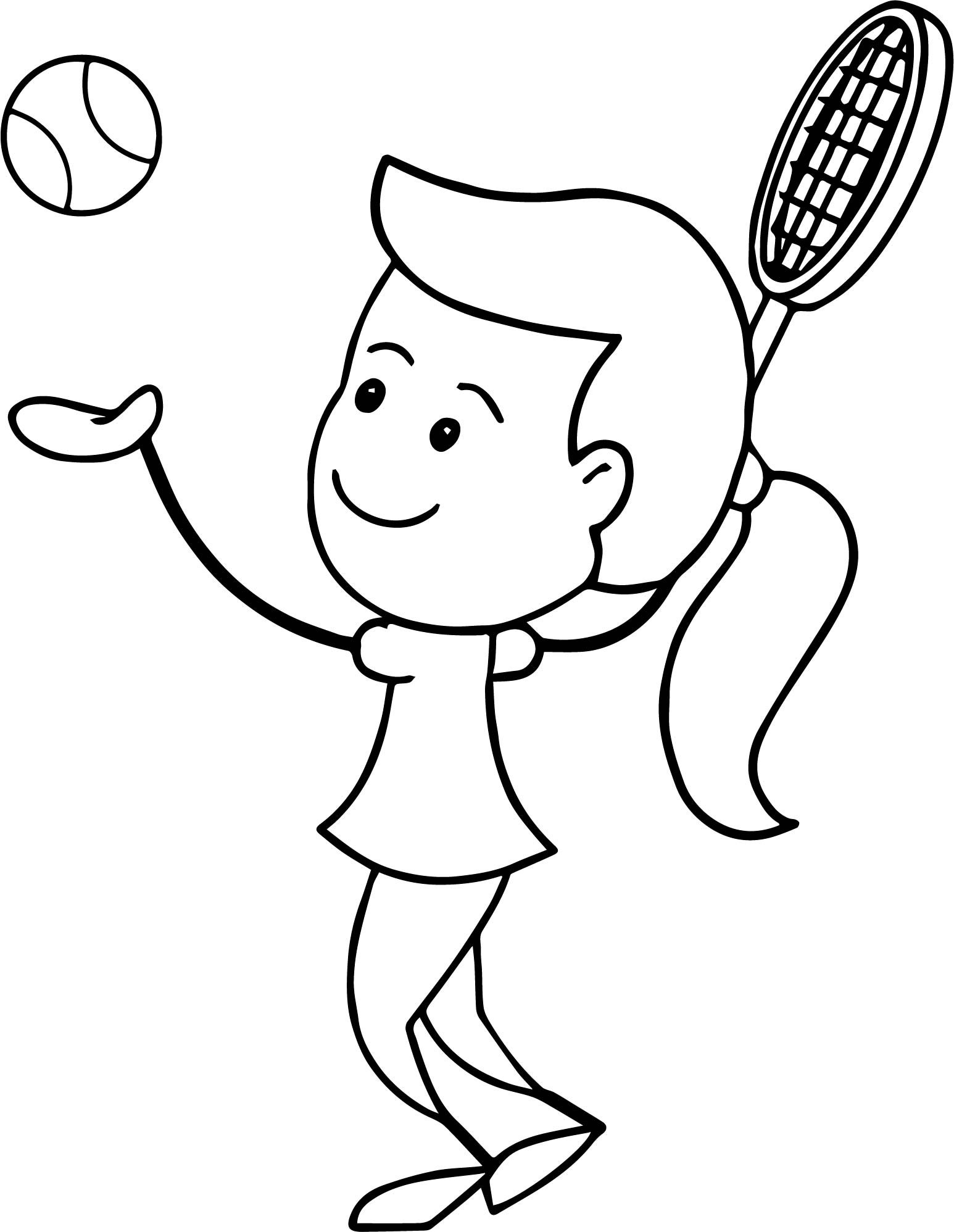 girl serving tennis ball coloring page
