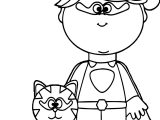 Girl Superhero With Cat Coloring Page