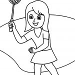 Girl With Badminton Racquet Coloring Page