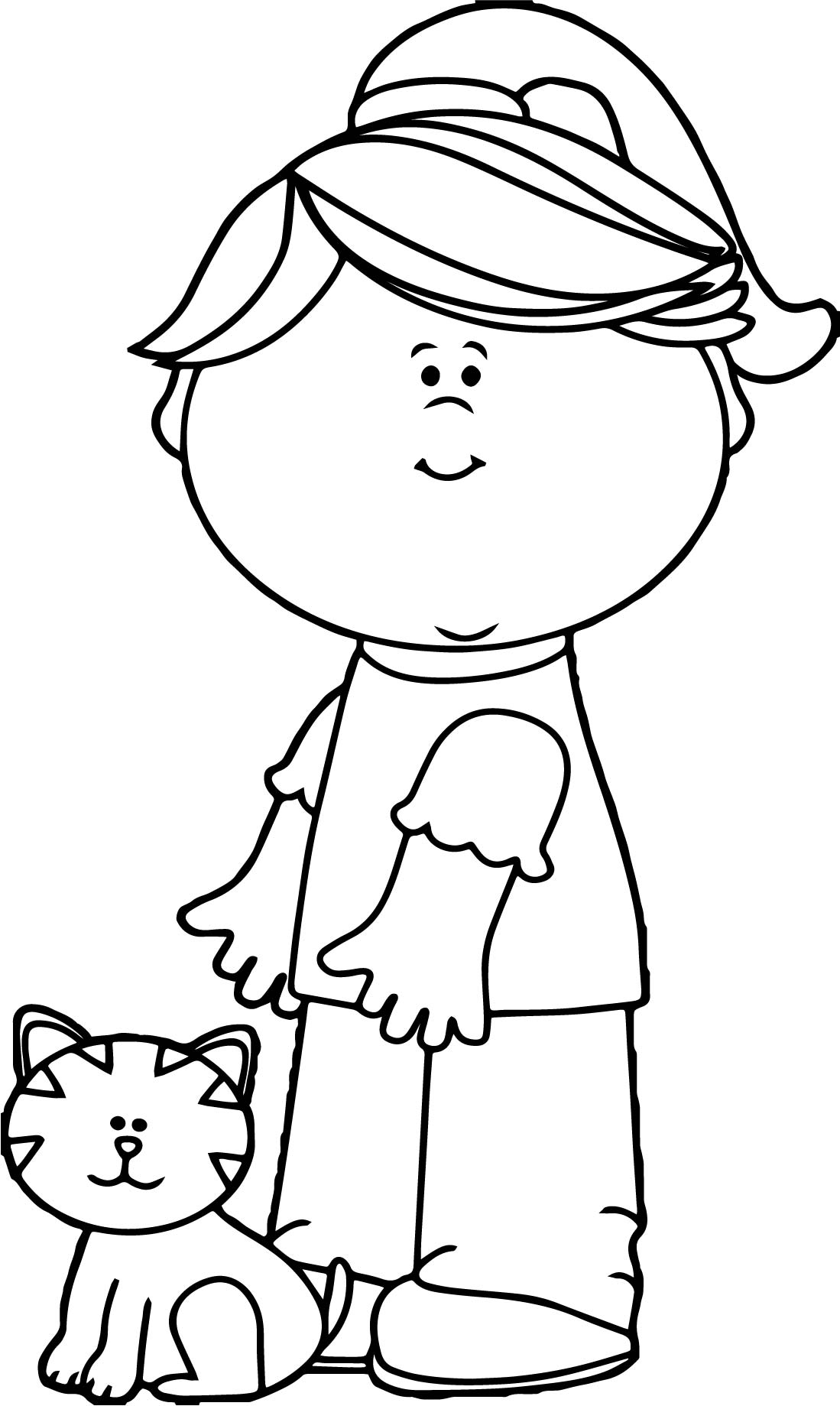 Girl With Cat Coloring Page