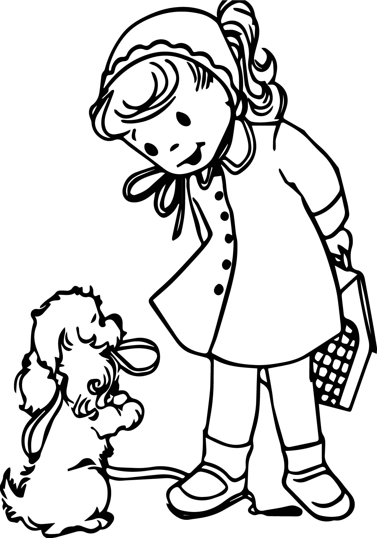 puppy printable coloring pages - girl with puppy printable coloring page
