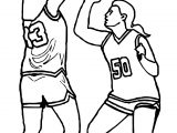Girls Basketball Playing Guard Coloring Page