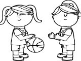 Girls Passing Playing Basketball Coloring Page
