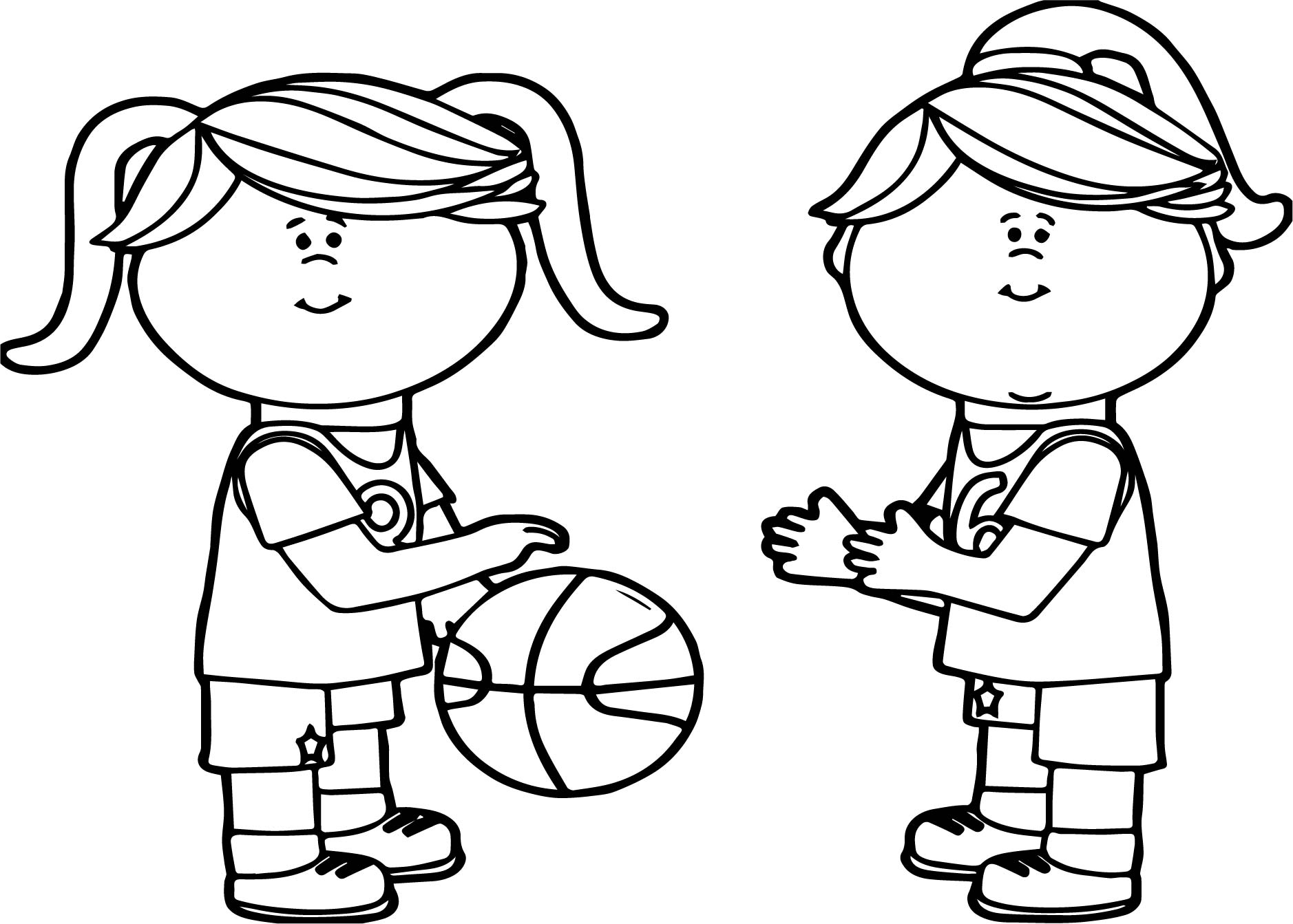 Real Basketball Coloring Pages. Girls Passing Playing Basketball Coloring Page  Wecoloringpage