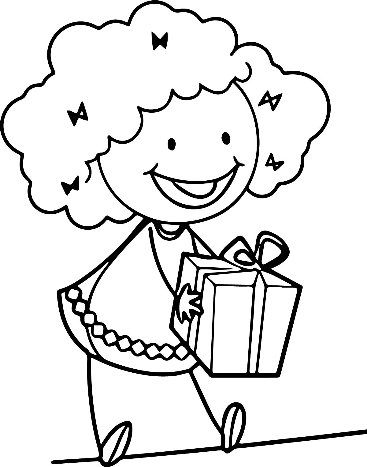 Give A Surprise Girl Happy Coloring Page