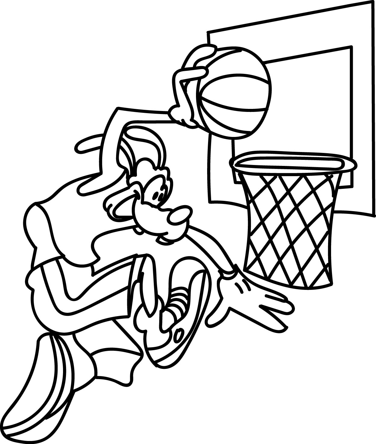 goofy playing shot basketball coloring pages