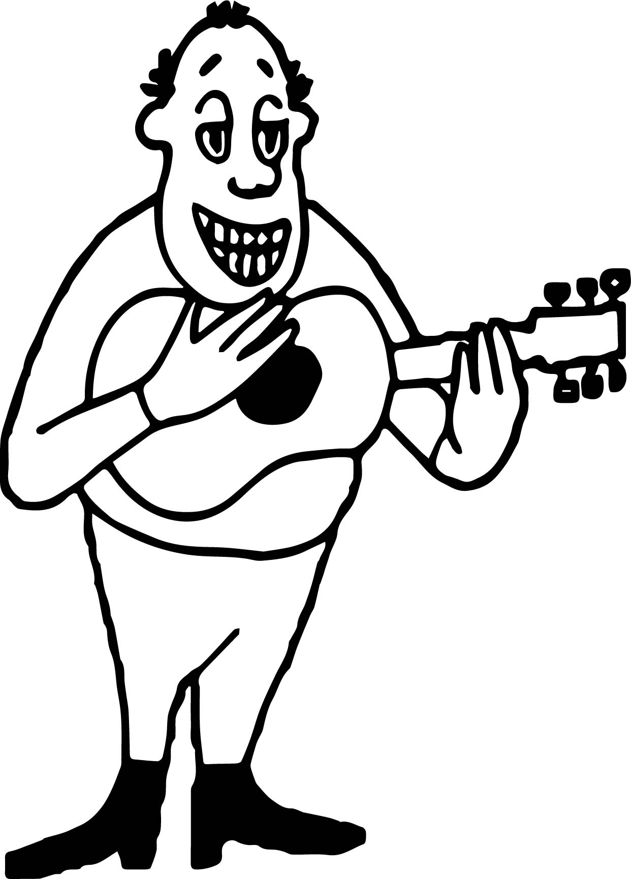 Guitar Player Strumming Guitar Man Coloring Page