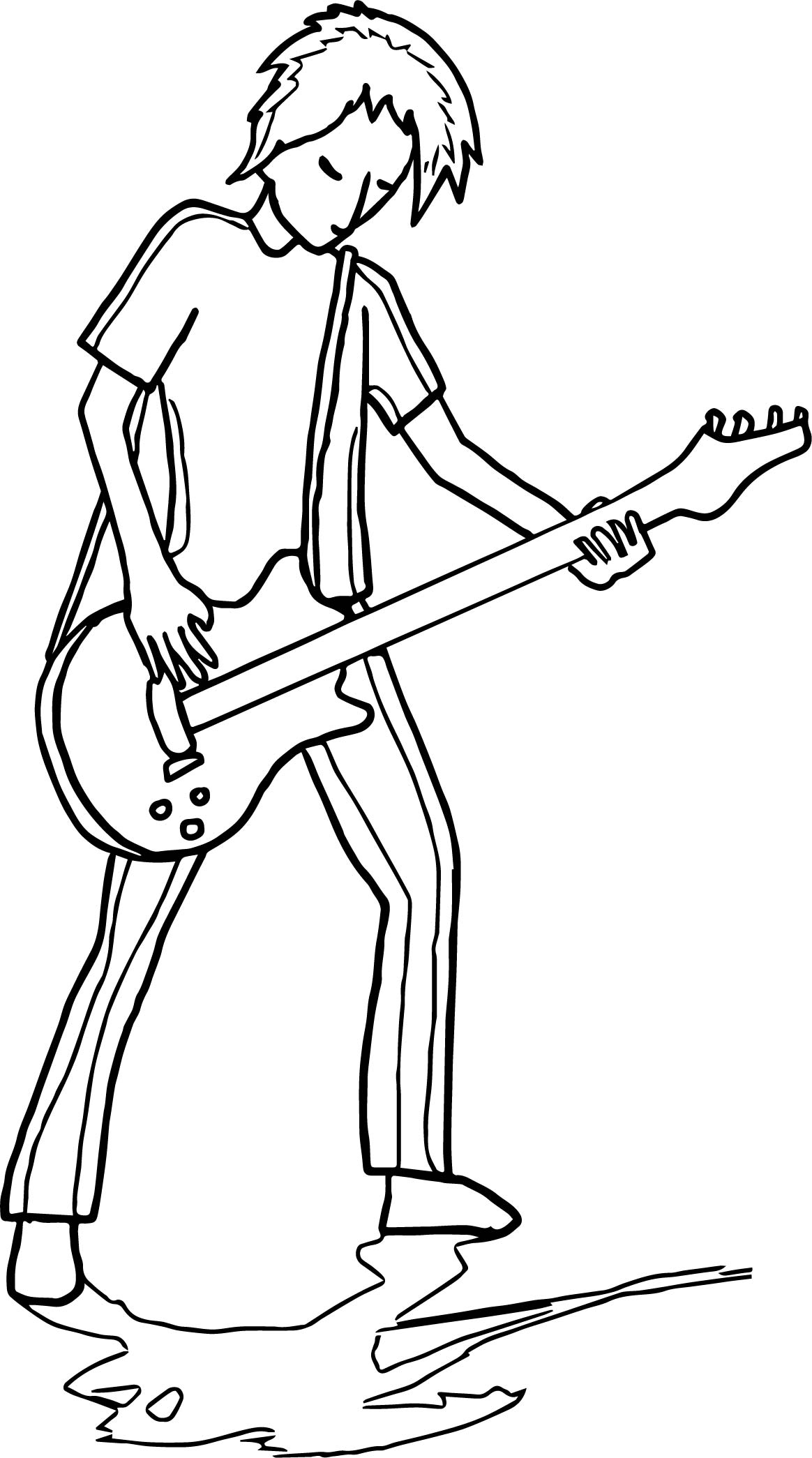 Guitarist Playing The Guitar Coloring Page