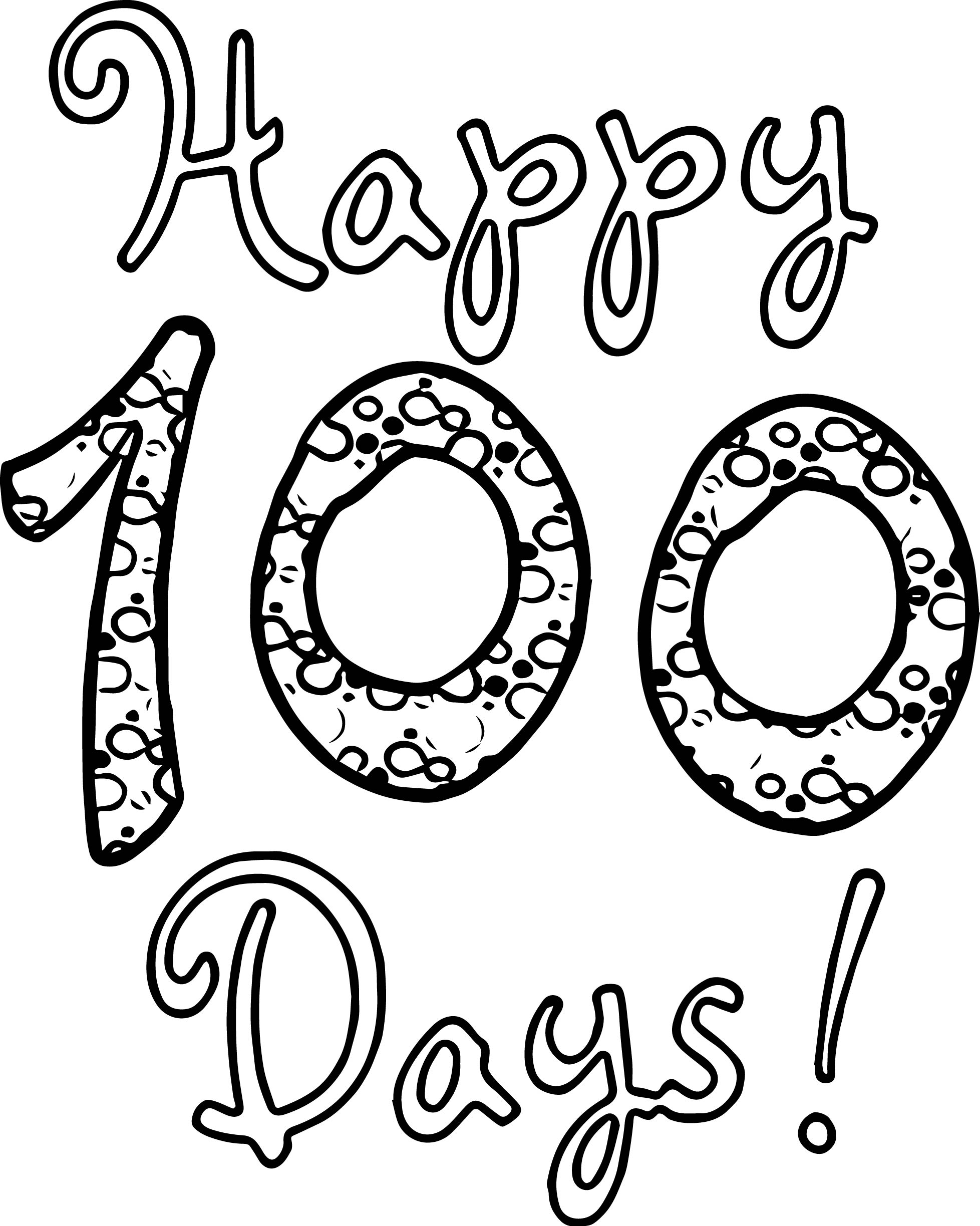 Happy 100 Days Of School Coloring Page | Wecoloringpage