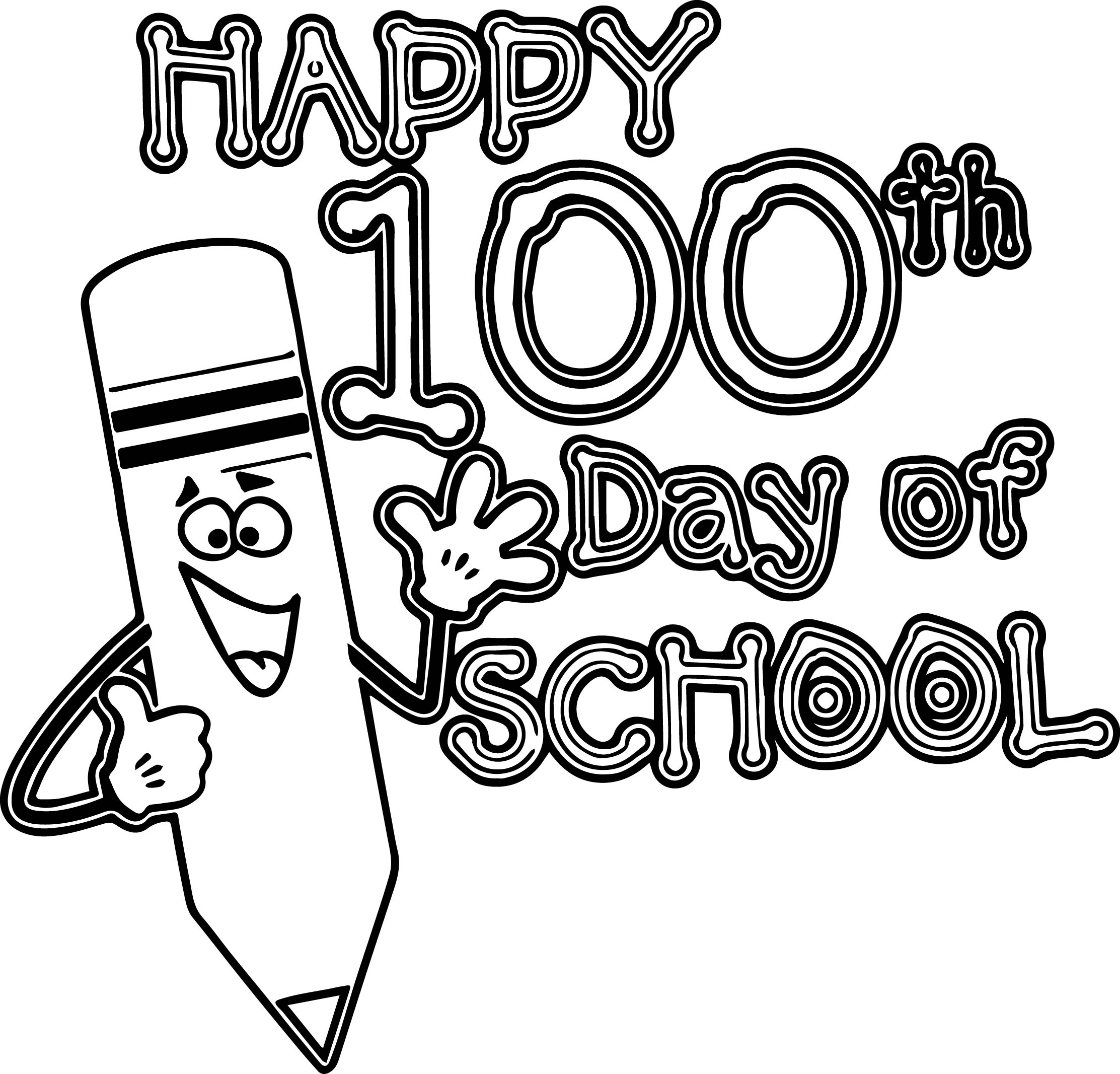 Happy 100th Pencil School Day Coloring Page