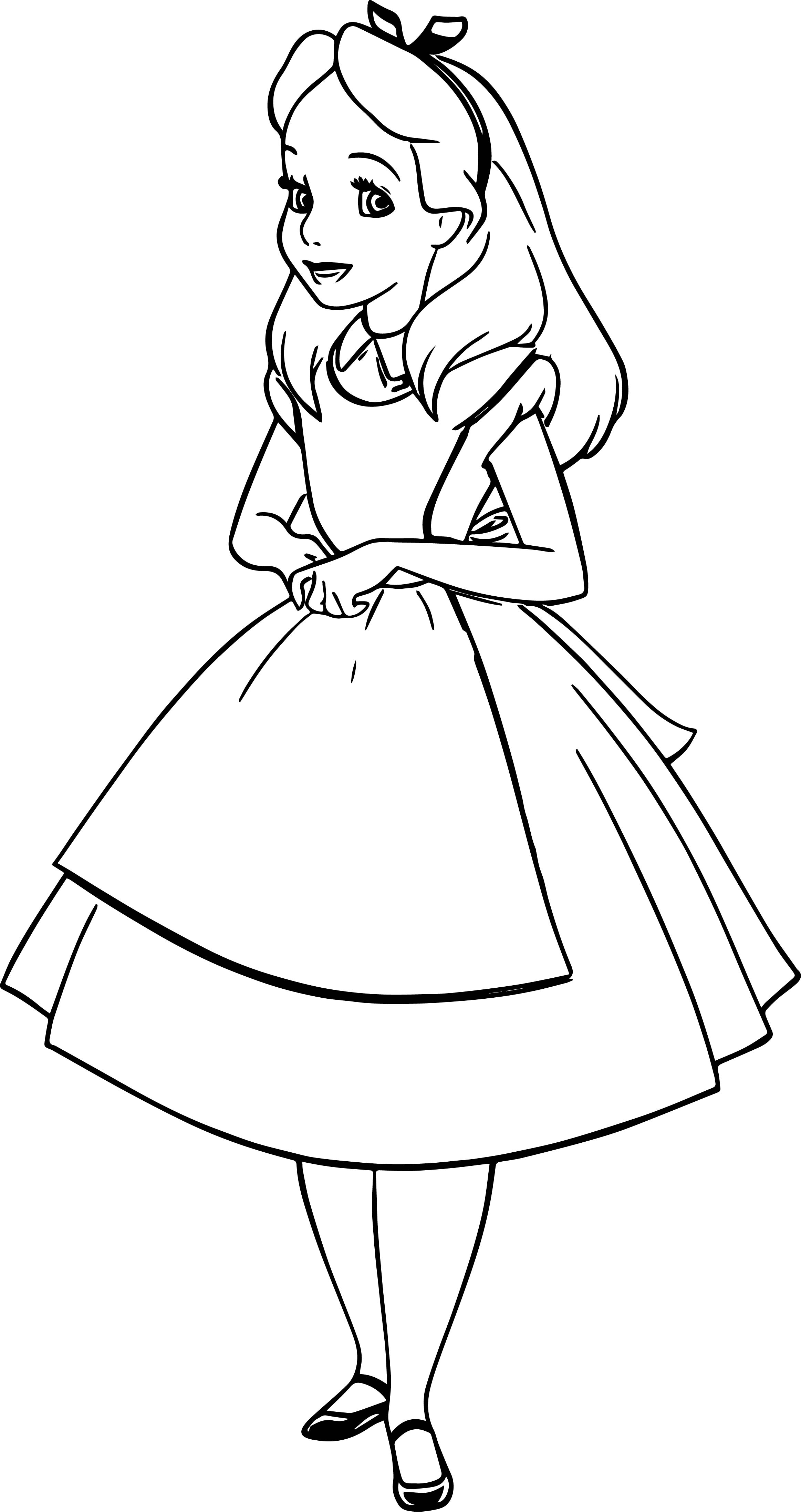 happy alice in the wonderland coloring page wecoloringpage