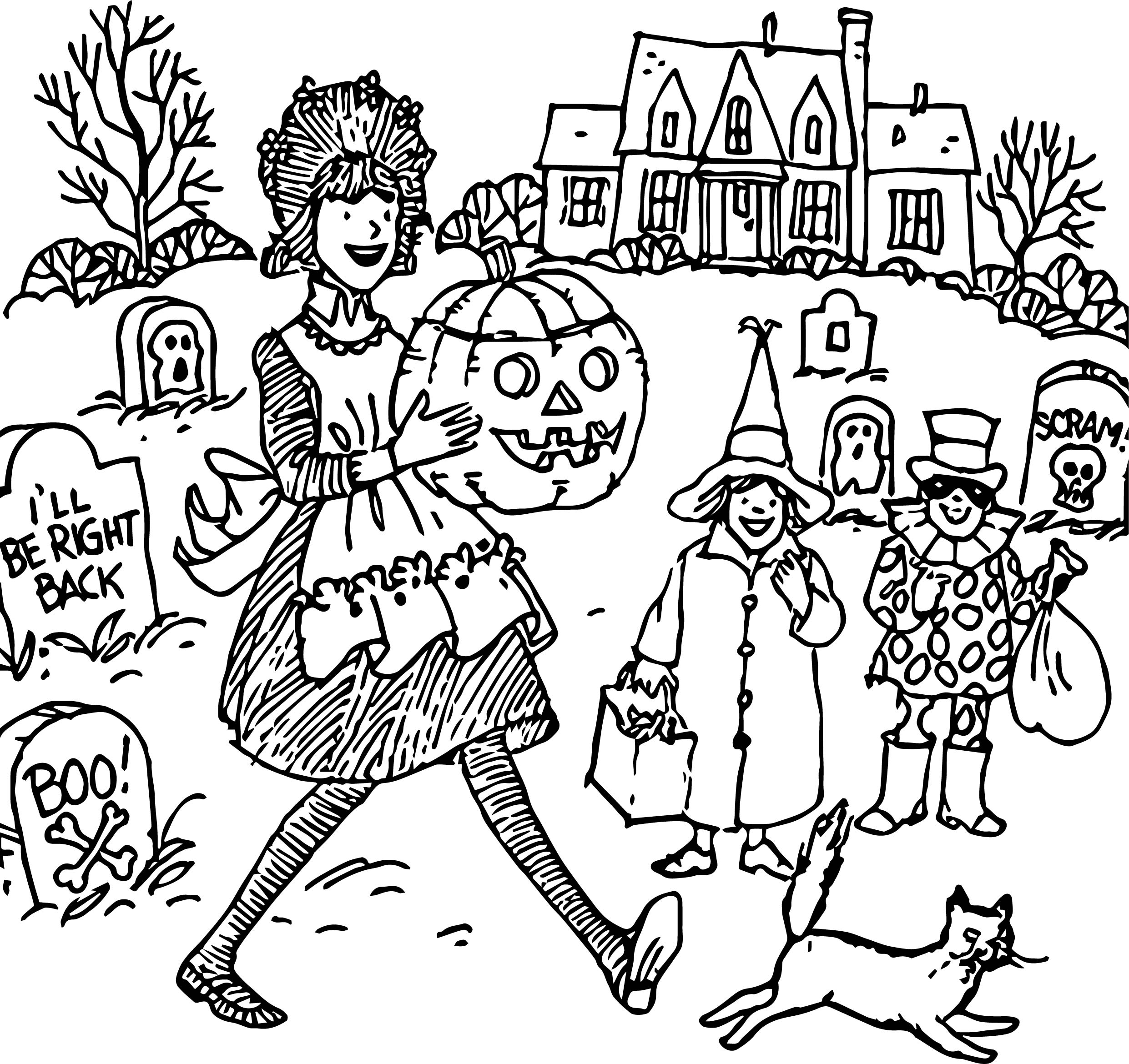 amelia bedelia coloring pages - happy haunting halloween amelia coloring page