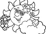 Hawaiian Sun Coloring Page