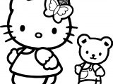 Hello Kitty And Toy Bear Coloring Page