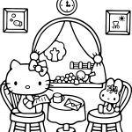 Hello Kitty At Home Play Bear Coloring Page