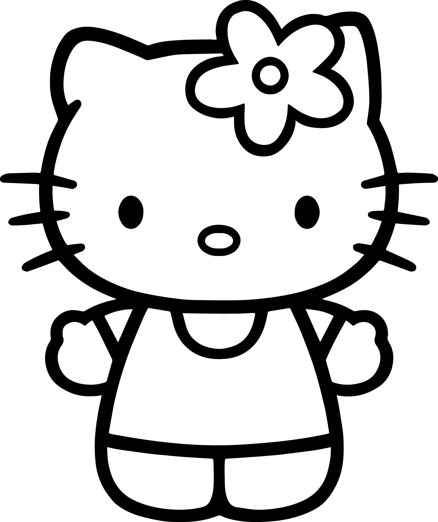 Hello Kitty Basic Bold Coloring Page