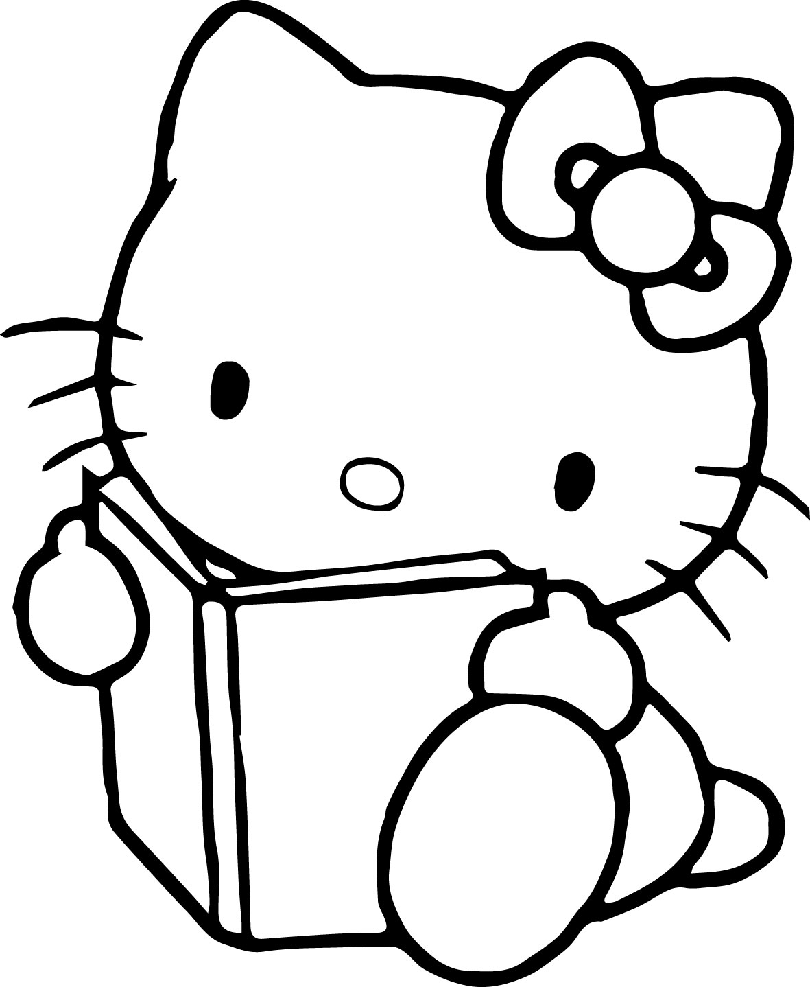 Hello Kitty Book Coloring Page