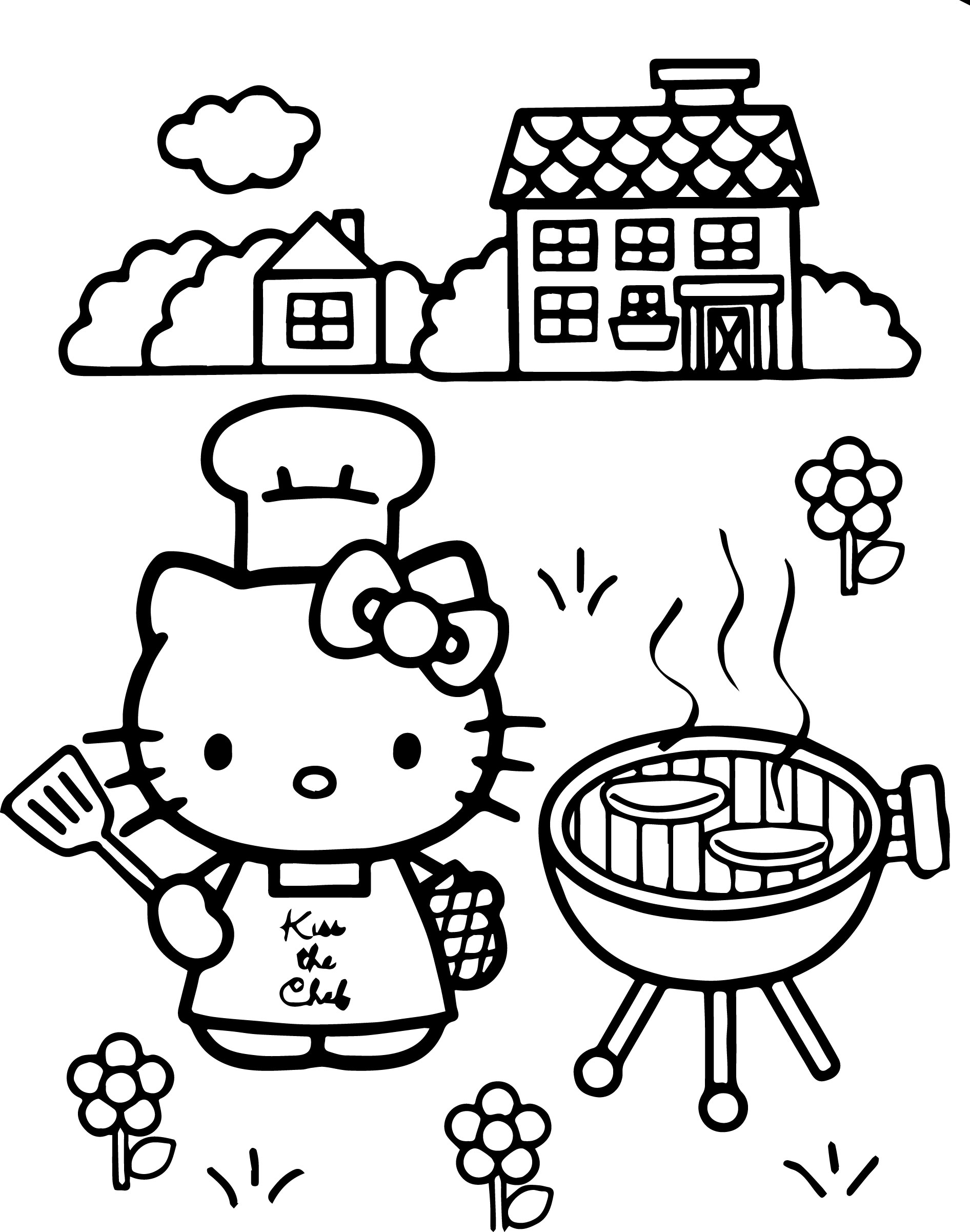 Hello Kitty Chef Coloring Page | Wecoloringpage