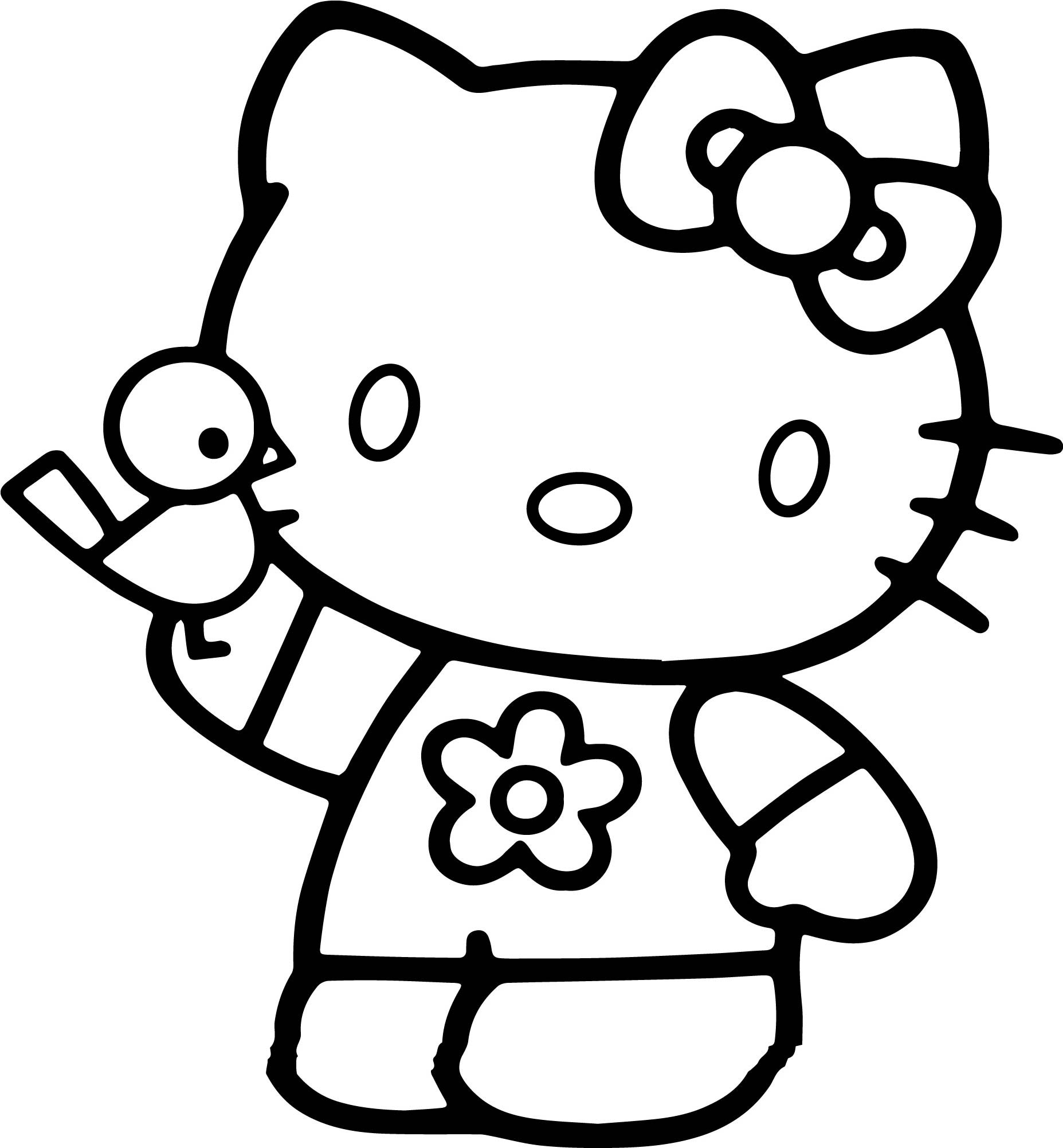 Hello Kitty Coloring Page For Kids Play Birds