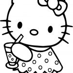 Hello Kitty Drink Lemonade Coloring Page