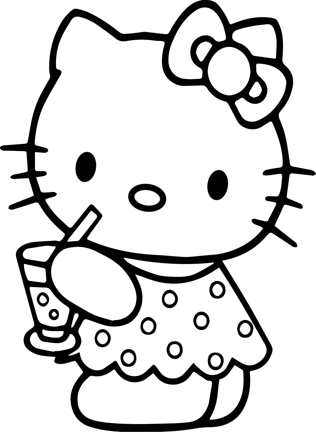 Hello Kitty With Balloons Coloring Pages : Hello kitty holding balloons coloring pages for kids