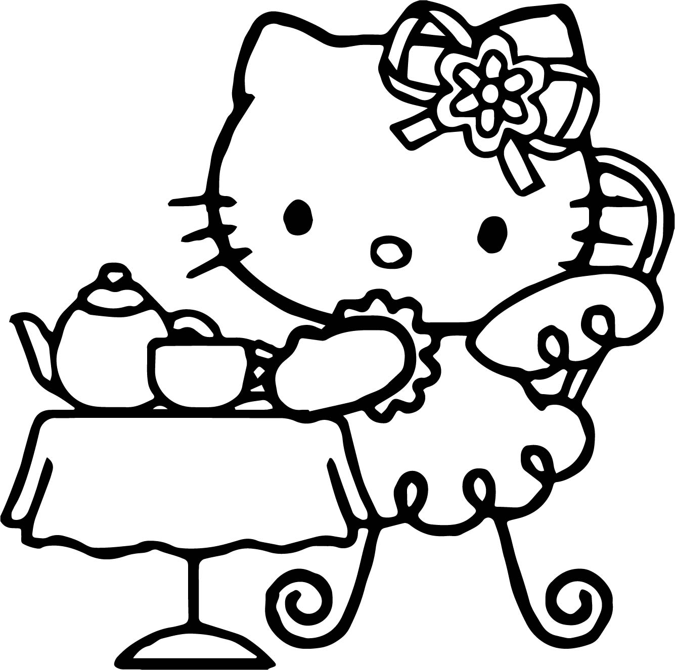 Hello Kitty Drink Tea Coloring Page