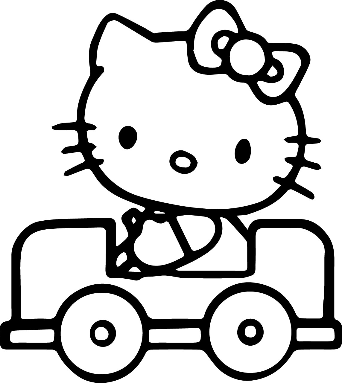 Hello Kitty Drive Car Coloring Page
