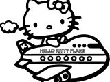 Hello Kitty Fly Plane Coloring Page
