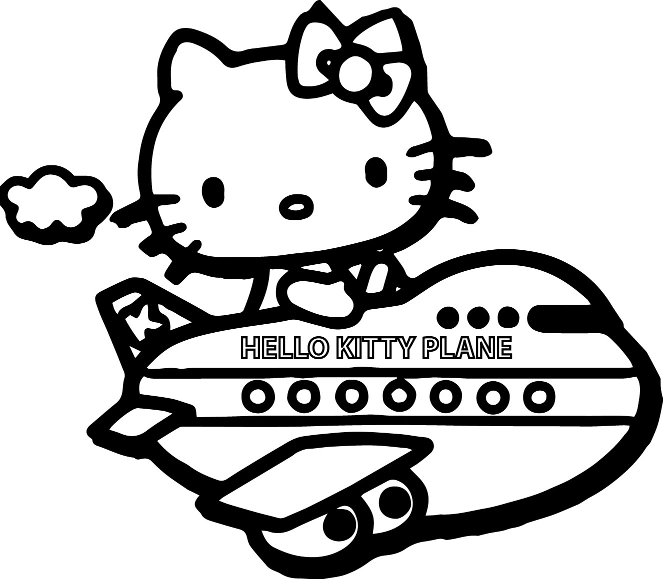 hello kitty fly plane coloring page wecoloringpage