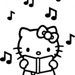 Hello Kitty Listen Music Coloring Page