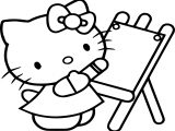 Hello Kitty Painting Coloring Page