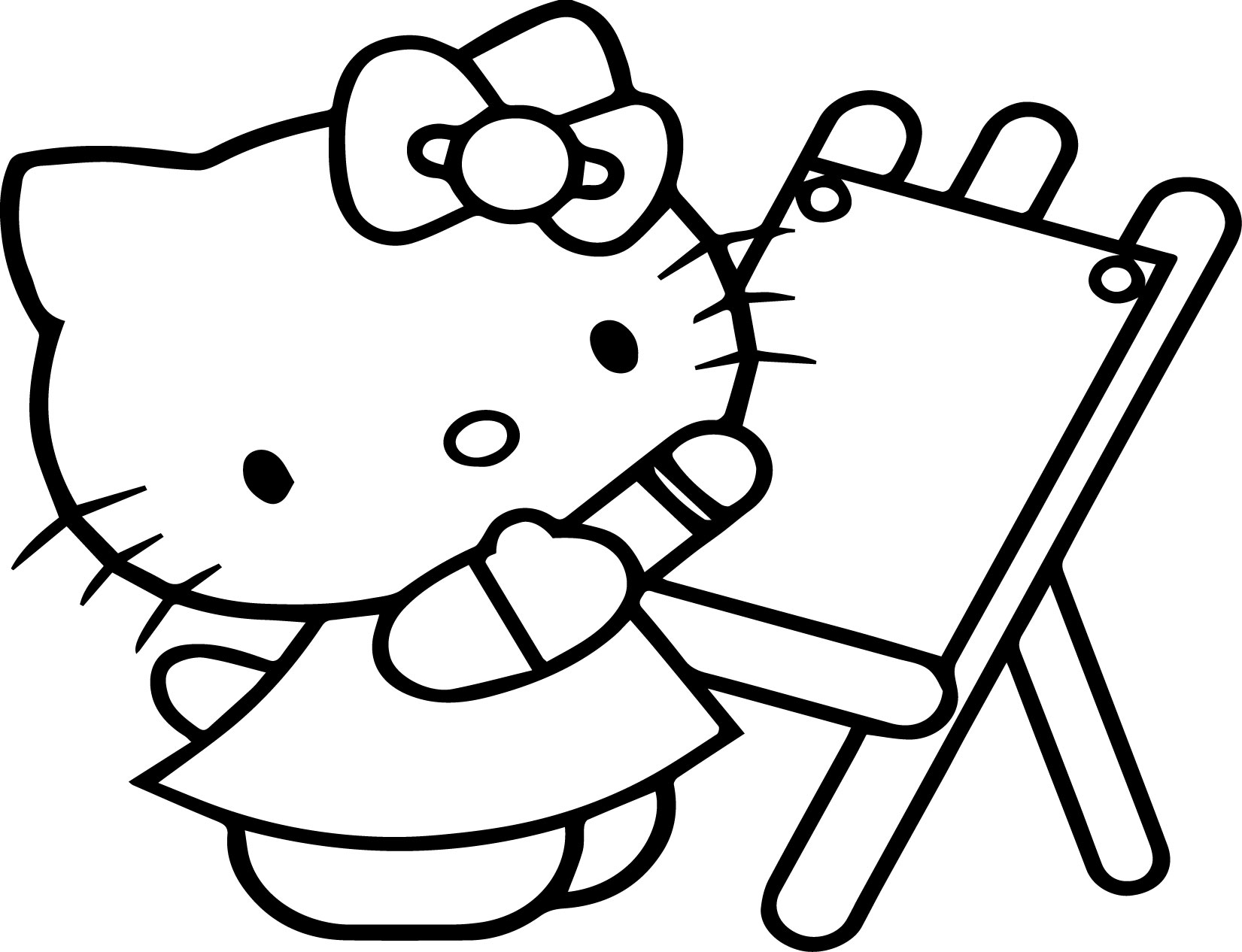 Hello Kitty Painting Coloring Page | Wecoloringpage