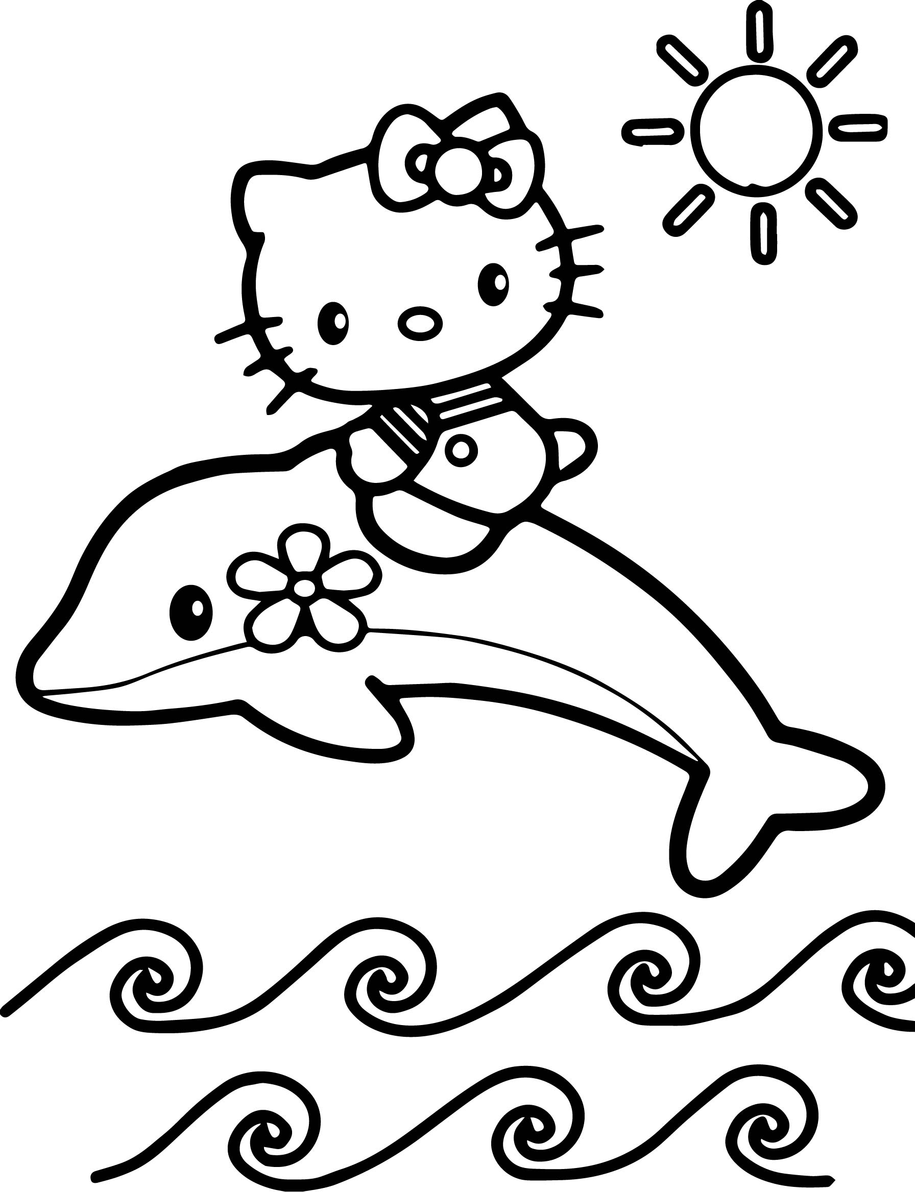 Hello Kitty Color Page Cartoon Characters Coloring Pages