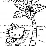 Hello Kitty Playing At Beach Coloring Page